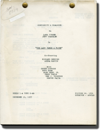 The Lady Takes a Flyer (Post-production script for the 1958 film). Jack Arnold, Danny Arnold,...