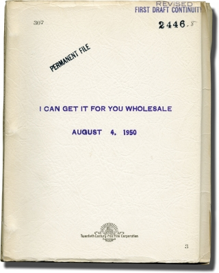 I Can Get It for You Wholesale (Original screenplay for the 1951 film with script breakdown...