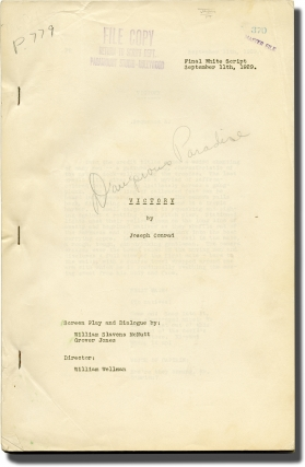 Dangerous Paradise [Victory] (Original screenplay for the 1930 film). Joseph Conrad, William A....