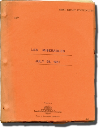 Les Miserables (Original screenplay for the 1952 film). Victor Hugo, Lewis Milestone, Richard...
