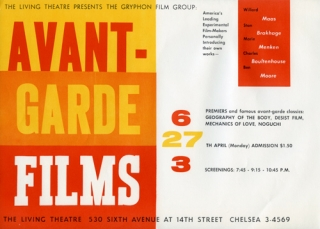 Avant-Garde Films presented by The Gryphon Film Group at the Living Theatre in New York, April...