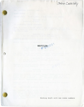 Matilda [Mathilda] (Original screenplay for the 1996 film, stuntman John Cassidy's working copy)....