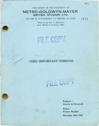 The V.I.P.s [Very Important Persons] (Original screenplay for the 1963 film). Anthony Asquith,...