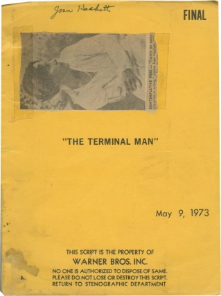 The Terminal Man (Original screenplay for the 1974 film, copy belonging to actress Joan Hackett)....