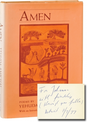 Amen (First Edition, inscribed). Yehuda Amichai, Ted Hughes