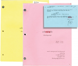 Unbreakable (Screenplay archive for the 2000 film, copy belonging to Bruce Willis stand-in Allen...