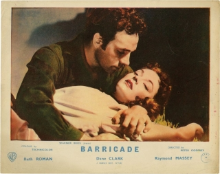 Barricade (Collection of 3 photographs from the 1950 film). Peter Godfrey, Jack London, Fred Morgan, William Sackheim, Raymond Massey Dane Clark, Robert Douglas, Ruth Roman, director, novel, still photographer, screenwriter, starring.