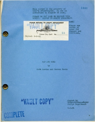 Pat and Mike (Original screenplay for the 1952 film, June 1951 draft). George Cukor, Garson Kanin...