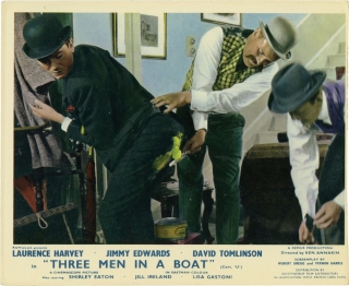 Three Men in a Boat (Two vintage still from the 1956 film). Ken Annakin, Jerome K. Jerome, Hubert Gregg, Jimmy Edwards Laurence Harvey, Shirley Eaton, David Tomlinson, director, novel, screenwriter, starring.