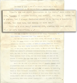 Sibling Love [Blue Movie] (Manuscript outline for a film treatment, with corrections). Terry...