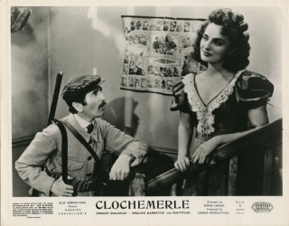 Clochemerle [Scandals of Clochemerle] (Collection of 8 photographs from the 1948 film). Pierre Chenal, Gabriel Chevallier, Pierre Laroche, Saturnin Fabre Felix Oudart, Maximilienne, Jean Brochard, director, screenwriters, starring.