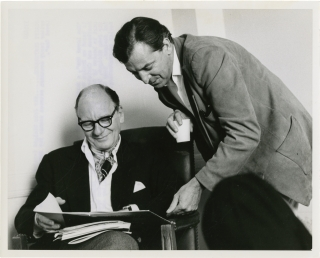 "Terry Southern and John Gielgud on the set of ""The Loved One"" (Original photograph). Terry Southern, Christopher Isherwood, Tony Richardson, John Gielgud, screenwriter, director, starring."