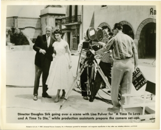 "Douglas Sirk on the set of ""A Time to Love and a Time to Die"" Douglas Sirk, John Gavin Lilo..."