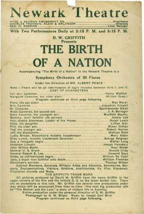 The Birth of a Nation (Original handbill for early theatrical run at the Newark Theatre in...