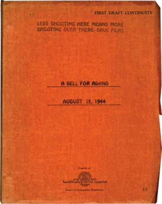 A Bell for Adano (Original screenplay for the 1945 film, copy belonging to producer Louis D....