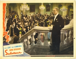 Saboteur (Lobby card for the 1942 film). Alfred Hitchcock, Peter Viertel Dorothy Parker, Joan...