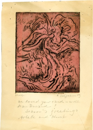"Christmas card titled ""Moor,"" made by Kurt Seligmann, inscribed to Amos Vogel in 1959. Amos Vogel, Kurt Seligmann, artist."