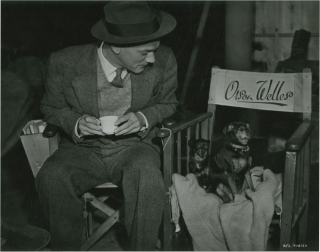 The Third Man (Original candid still photograph of actor Joseph Cotten on set with two miniature...