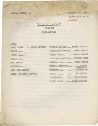 Night Beat [Nightbeat] (Original script for the 1951 radio program). Warren Lewis, Herb Perdum,...