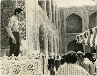 Pier Paolo Pasolini in on the set of Il Fiore Delle Mille E Una Notte [Arabian Nights] (Original...