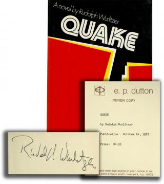 Quake (Signed First Edition, review copy). Rudolph Wurlitzer