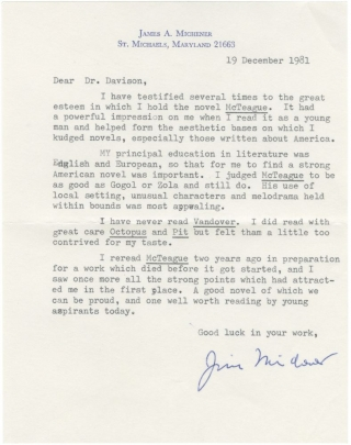"Typed letter signed from James Michener, discussing the influence of Frank Norris' ""McTeague"" on..."