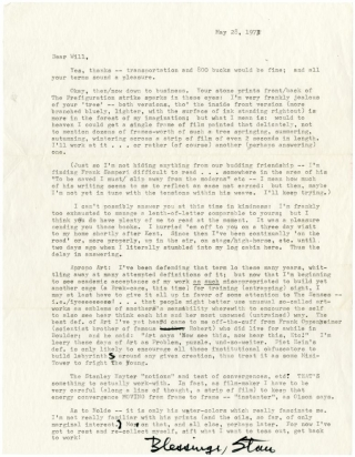 Lengthy typed letter signed from Stan Brakhage to Will Petersen. Stan Brakhage
