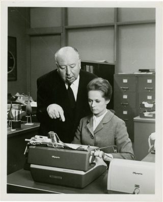 Marnie (Original photograph of Alfred Hitchcock and Tippi Hedren on the set of the 1964 film)....
