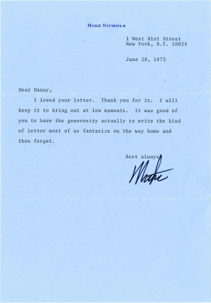Typed Letter Signed from Mike Nichols to Daniel Selznick, 1973. Mike Nichols, Daniel Selznick,...