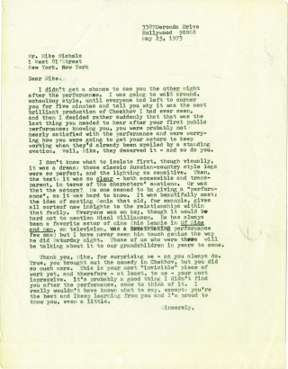 Typed Letter Signed from Mike Nichols to Daniel Selznick, 1973
