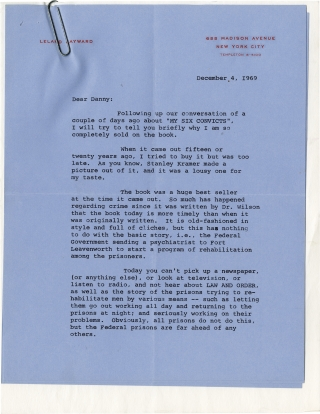 "Archive of correspondence between producer Leland Hayward and Daniel Selznick regarding ""My Six..."