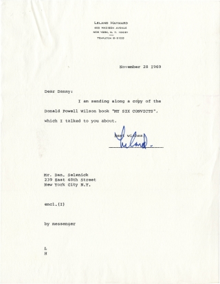 "Archive of correspondence between producer Leland Hayward and Daniel Selznick regarding ""My Six Convicts,"" 1969-1970"