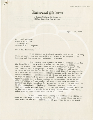 Typed letter signed from Carl Foreman to Daniel Selznick, 1968