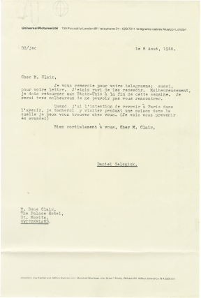 Typed letter signed from Rene Clair to Daniel Selznick, 1968