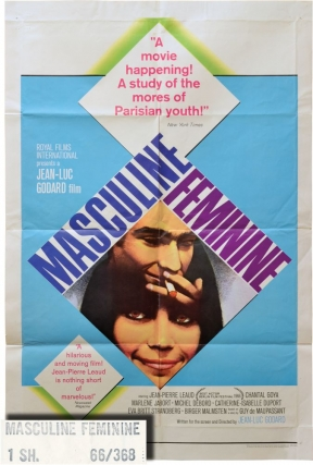 Masculin/Feminin [Masculin feminin, Masculine Feminine] (Original poster for the 1966 film)....