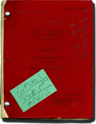 High Society (Original screenplay for the 1955 film, crew member's copy). William Beaudine, Bert...