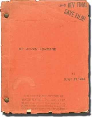 Of Human Bondage (Original screenplay for the 1946 film, script editor's copy). W. Somerset...