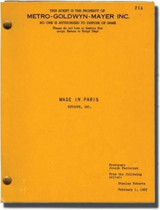 Made in Paris (Original screenplay for the 1965 film). Boris Sagal, Stanley Roberts, Louis...