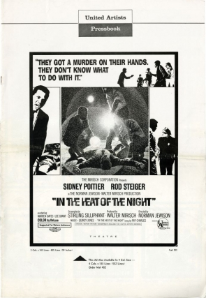 In the Heat of the Night (Original Film Pressbook). Norman Jewison, Stirling Silliphant, John Ball, Rod Steiger Sidney Poitier, Warren Oates, director, screenwriter, novel, starring.