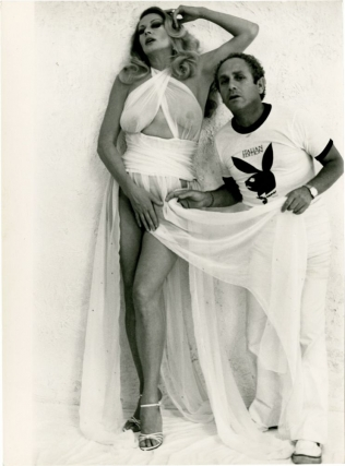 Candid photograph of Anita Ekberg and Angelo Frontoni on the set of a 1978 Playboy magazine shoot. Anita Ekberg, Angelo Frontoni, actress, photographer.