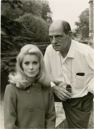 Belle de jour (Original photograph of Catherine Deneuve and Luis Bunuel from the set of the 1967 film). Luis Buñuel, Jean-Claude Carriere, Raymond Voinquel, Michel Piccoli Catherine Deneuve, Jean Sorel, Genevieve Page, director, screenwriter, still photographer, starring.
