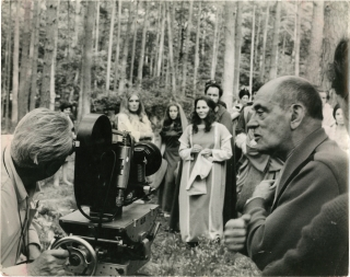 The Milky Way (Original photograph from the set of the 1969 film). Luis Buñuel, director, Jean-Claude Carrière, screenwriter, Laurent Terzieff Paul Frankeur, Edit Scob, Alain Cuny, starring.
