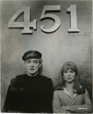 Fahrenheit 451 (Photograph of Julie Christie and Oskar Werner from the set of the 1966 film)....