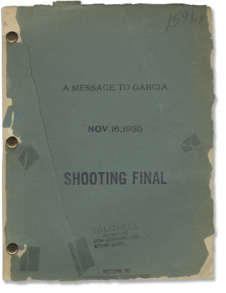 A Message to Garcia (Original screenplay for the 1936 film). George Marshall, Daryl F. Zanuck,...