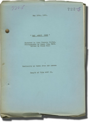 Man About Town (Post-production script for the 1932 film). John Francis Dillon, Leon Gordon,...