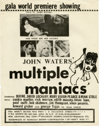 Multiple Maniacs (Original flyer for the Baltimore premiere of the 1970 film). John Waters, director.