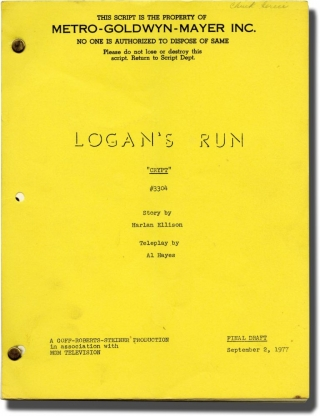 Logan's Run: The Crypt (Original screenplay for the 1977 television episode, crew member's copy)....