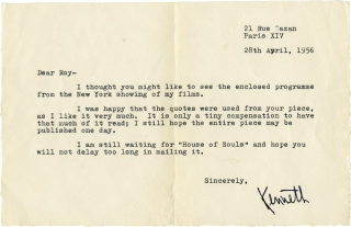 Typed letter signed to Roy Edwards, dated April 28, 1956, along with an inscribed calling card...