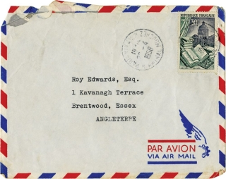 Typed letter signed to Roy Edwards, dated April 28, 1956, along with an inscribed calling card from 1963