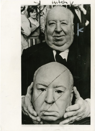 Alfred Hitchcock on the set of Frenzy with plaster dummy head (Original photograph). Alfred...